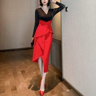 韓国ワンピース❤韓国パーティードレス レッド×ブラックが大人キレイな個性的デザインの可愛いワンピース 962792