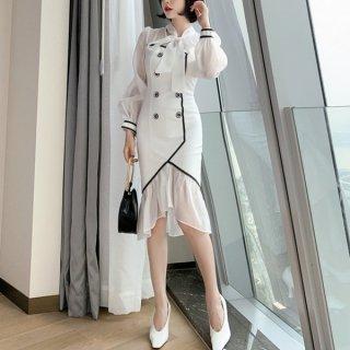 韓国ワンピース❤お呼ばれワンピ 裾レースが可愛いマーメードデザインワンピース 962798