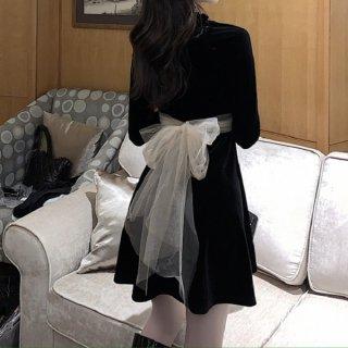 韓国ワンピース❤ホルターネックが大人上品なベルベット素材の可愛いお呼ばれワンピース 962805