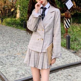 韓国セットアップ❤チェック柄は春らしいジャケットとミニスカートの可愛いツーピース 962832