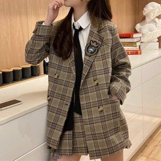 韓国セットアップ❤チェック柄がガーリーなジャケットとミニスカートの可愛いツーピース 962835