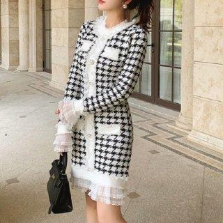 韓国ワンピース❤裾レースが清楚な千鳥格子の可愛いニットワンピース 962843