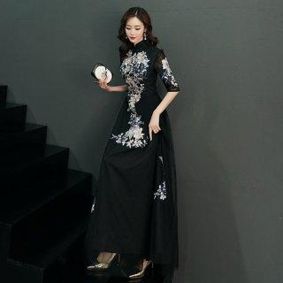 韓国ワンピース❤韓国パーティードレス 刺繍がエレガントなマオカラーデザインワンピース 962851