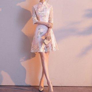 韓国ワンピース❤韓国パーティードレス 淡いピンクと花柄がとっても可愛いお呼ばれワンピース 962853