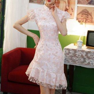 韓国ワンピース❤韓国パーティードレス 淡いカラーが大人可愛いアシンメトリーお呼ばれワンピース 962859