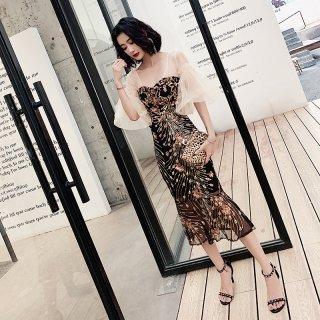 韓国ワンピース❤韓国パーティードレス 総刺繍がエレガントなマーメードワンピース 962869