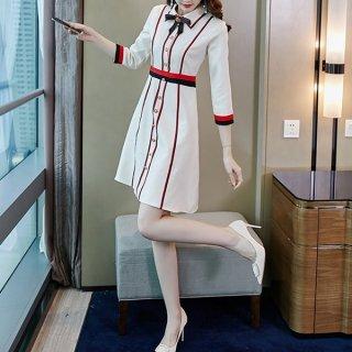 韓国ワンピース❤大人っぽい配色カラーが可愛いAラインワンピース 962910