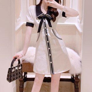 韓国ワンピース❤ホワイト×ブラックで清楚な装い♪可愛いバイカラーお呼ばれワンピース 962945