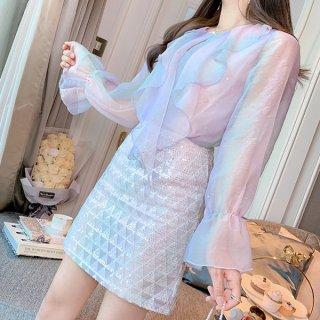 韓国セットアップ❤光沢あるシフォンブラウスとビジュー付きスカートの可愛いツーピース 962947