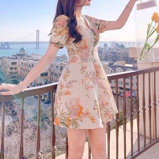韓国ワンピース❤ボタニカル柄が爽やかな可愛いフレアワンピース 962950
