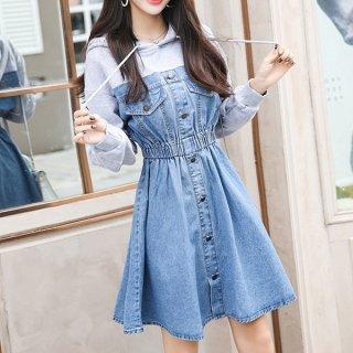 韓国ワンピース❤デニムドッキングデザインの可愛いパーカーワンピース 962951