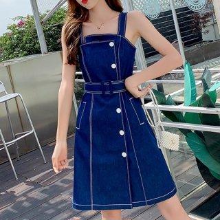 韓国ワンピース❤サイドボタンデザインの可愛いデニムジャンパースカート 962954