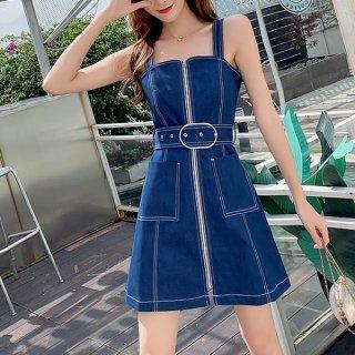 韓国ワンピース❤フロントジップがおしゃれな可愛いジャンパースカート 962956