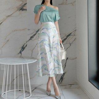 韓国セットアップ❤2WAYトップスと総柄スカートの可愛いツーピース 962972