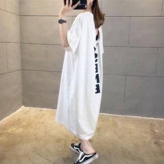 韓国Tシャツワンピ❤ラッキーセブンのロングで可愛いお背中コンシャスワンピ 962320
