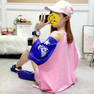 韓国Tシャツ❤トップス 肩のお星がキュートなセクシースポーティーシャツ 962321
