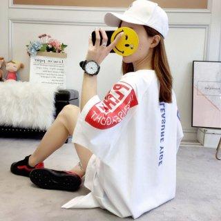 韓国Tシャツワンピ❤トップス 袖プリントがとっても可愛いすぎるシャツワンピ 962323