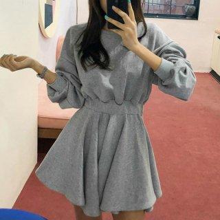 韓国ワンピース❤ふんわりフレアが可愛いシンプルミニ丈ワンピース 963014