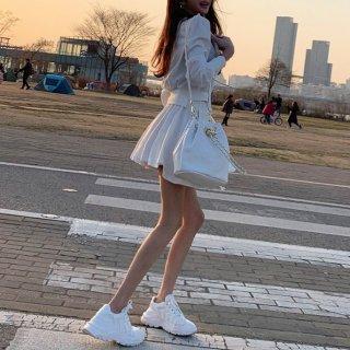 韓国セットアップ❤ショートトップスとフレアミニスカートの可愛いツーピース 963015