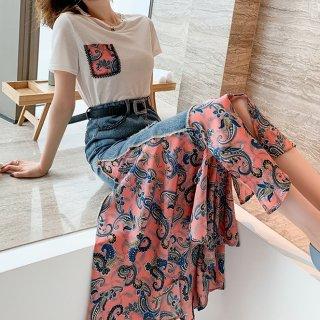 韓国セットアップ❤Tシャツとペーズリー柄のデニムコンビスカートの可愛いツーピース 963039