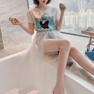 韓国セットアップ❤Tシャツとデニムコンビシフォンスカートの可愛いツーピース 963040