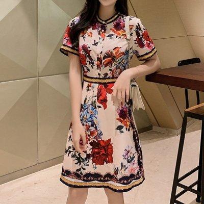 韓国ワンピース❤花柄がクラシカルな可愛いお呼ばれワンピース 963045