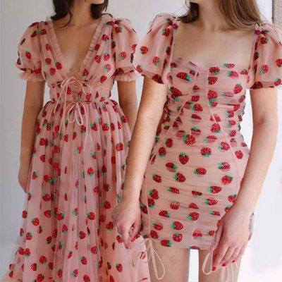 韓国ワンピース❤選べる2type!ストロベリー柄がガーリーな可愛いワンピース 963072