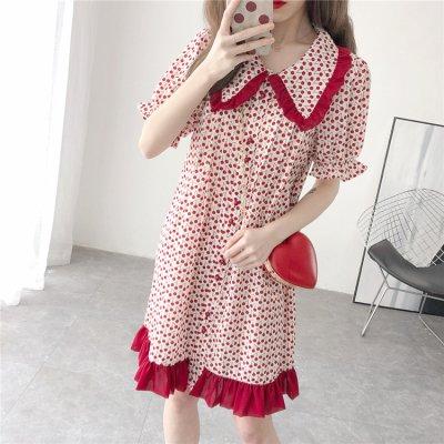 韓国ワンピース❤幾何学模様×フリルが可愛いシャツワンピース 963089