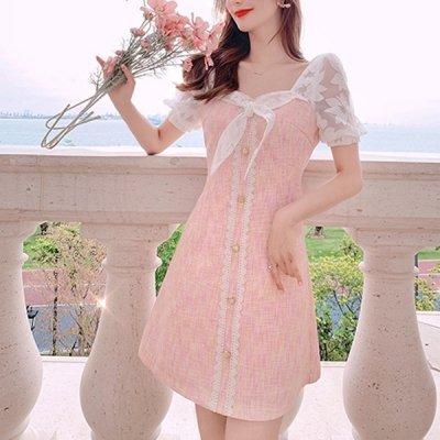韓国ワンピース❤レース袖がフェミニンな可愛いお呼ばれワンピース 963104