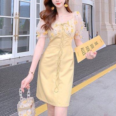韓国ワンピース❤レースアップが可愛いレース袖ワンピース 963105