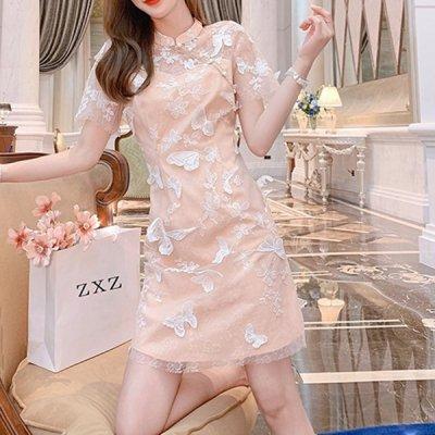 韓国ワンピース❤立体感ある蝶モチーフが可愛いワンピース 963106