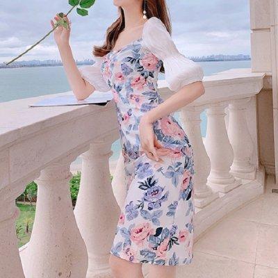 韓国ワンピース❤淡い花柄が上品で可愛いお呼ばれワンピース 963110
