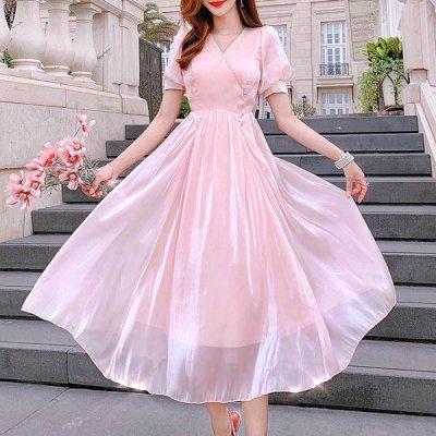 韓国ワンピース❤韓国パーティードレス 光沢あるエレガントな装いのフレアワンピース 963114