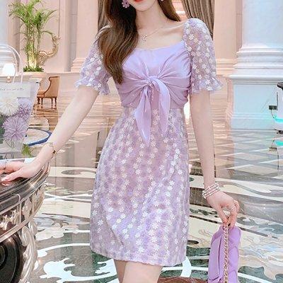 韓国ワンピース❤韓国パーティードレス 花柄モチーフ×胸元リボンがフェミニンな可愛いワンピース 963115