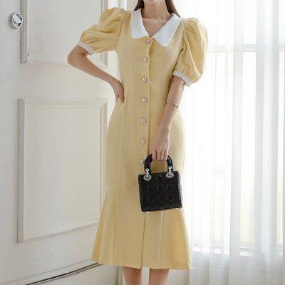 韓国ワンピース❤韓国パーティードレス ぽわんとしたお袖が可愛いマーメードワンピース 963127