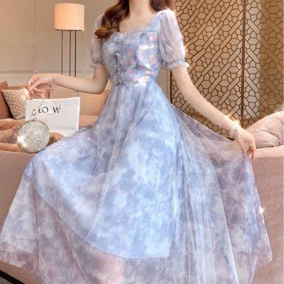 韓国ワンピース❤韓国パーティードレス 淡いカラー×フレアがお姫様のようなシルエットの可愛いワンピース 963131