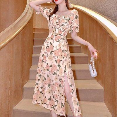 韓国ワンピース❤韓国パーティードレス エレガントなバラが可愛いパール付きワンピース 963132