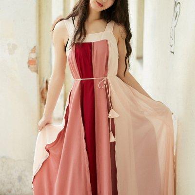 韓国ワンピース❤華やかなカラーが可愛いロング丈フレアワンピース 963135
