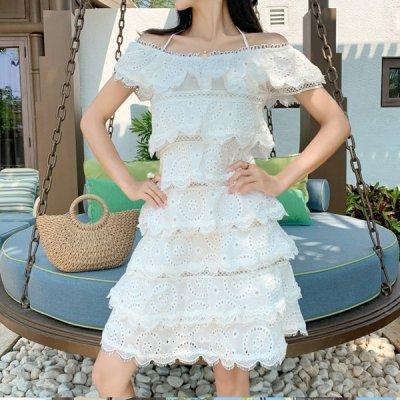 韓国ワンピース❤ふんわりボリュームシルエットが可愛いスカラップ裾ワンピース 963142