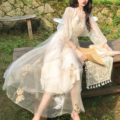 韓国セットアップ❤レースカーディガンとチュールキャミワンピースの可愛いツーピース 963145