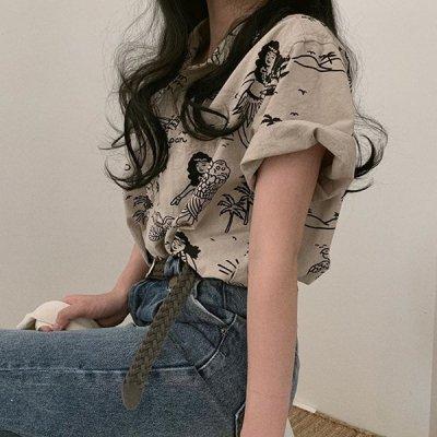 韓国トップス❤アロハデザインでコーデの主役に! 可愛いハワイデザインシャツ 963158