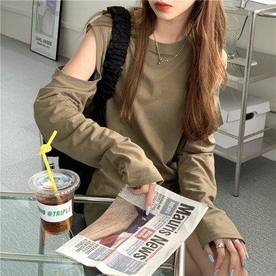 韓国トップス❤チラッと見える肌見せが可愛いオープンショルダーカットソー 963162