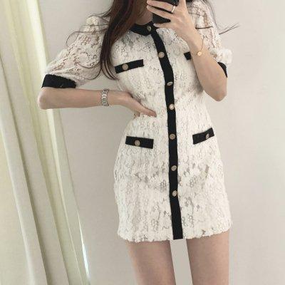 韓国ワンピース❤上品な透け感が可愛い総レースタイトワンピース 963169
