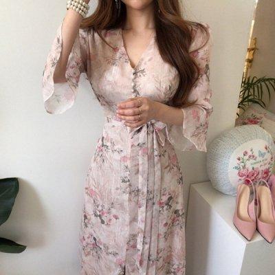 韓国ワンピース❤女子力が高まる!エレンガントで可愛い花柄ワンピース 963172