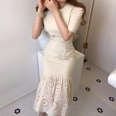 韓国ワンピース❤裾に施したパンチングが可愛いマーメードワンピース 963173