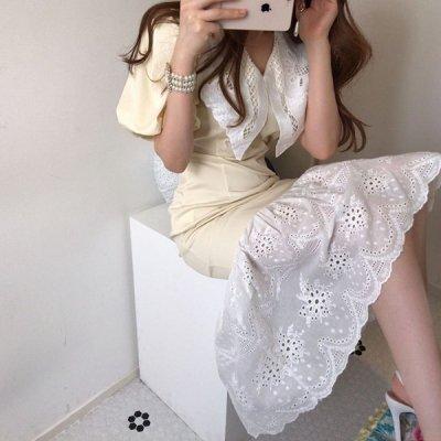 韓国ワンピース❤大きいレース襟が可愛いマーメードワンピース 963174