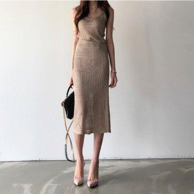 韓国セットアップ❤総パンチングデザインが可愛いキャミとスカートのツーピース 963175