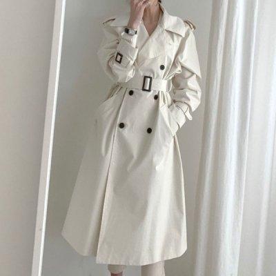 韓国アウター❤ホワイトカラーが上品な可愛いロング丈トレンチコート 963207