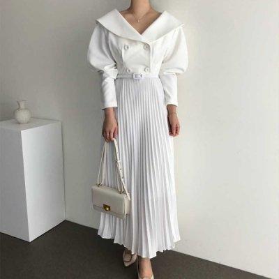 韓国ワンピース❤お呼ばれにも!大きめな襟×プリーツスカートが可愛いワンピース 963213