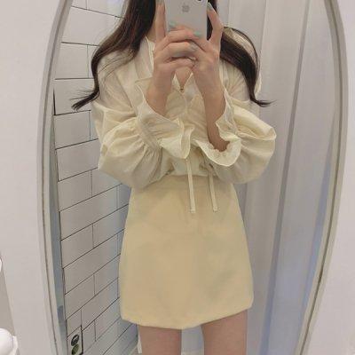 韓国セットアップ❤シアートップスと台形スカートの可愛いツーピース 963220